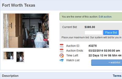 Online Storage Auction