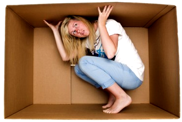 Woman inside a cardboard box